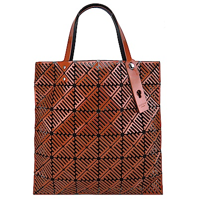 ISSEY MIYAKE三宅一生BAOBAO MOON系列6x6簍空手提包(褐橘紅)