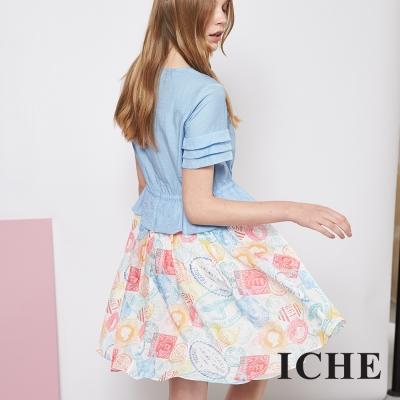 ICHE 衣哲 氣質印花假兩件拼接造型洋裝