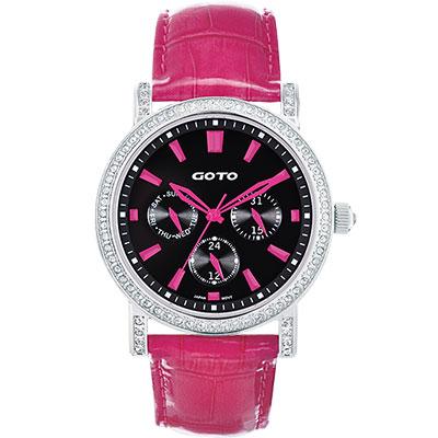 GOTO 天使的溫柔全日曆晶鑽腕錶-黑x桃紅時標/40.5mm