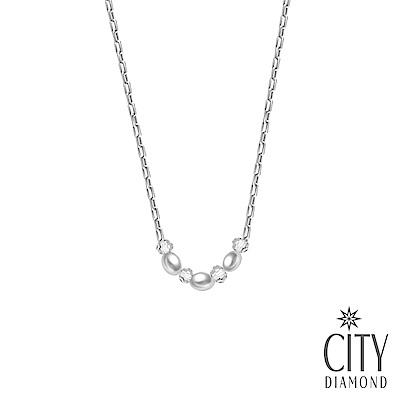 City Diamond 引雅天然橢圓3顆珍珠水晶項鍊