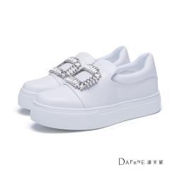 達芙妮 方型鑽飾厚底休閒懶人鞋