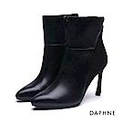 達芙妮DAPHNE 短靴-剪裁拼接造型高跟尖頭短靴-黑