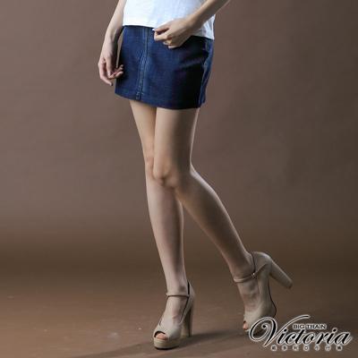【BIG TRAIN】女款 後打摺低腰迷你短裙(中深藍)