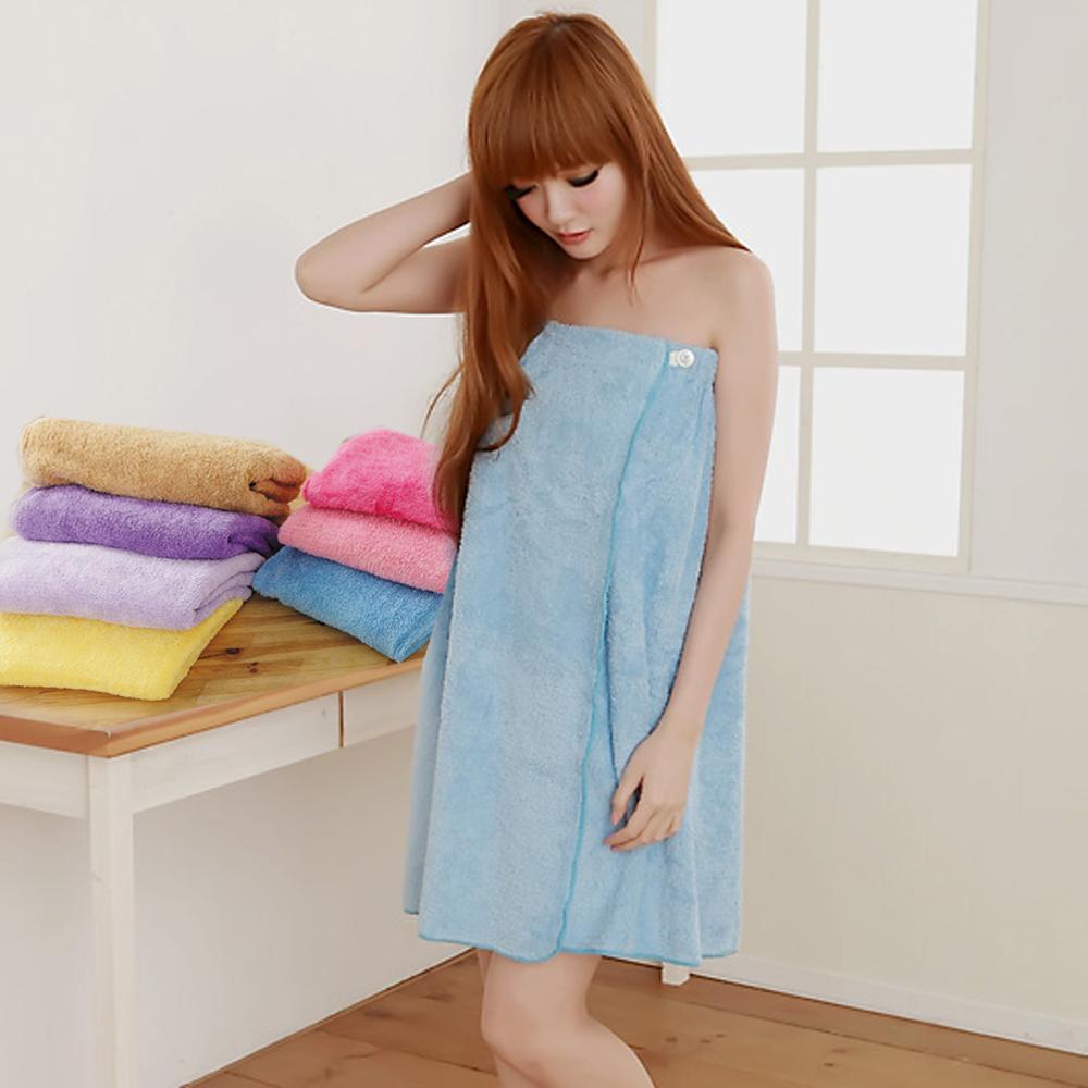 米夢家居-台灣製造 水乾乾SUMEASY開纖吸水紗浴裙(淺藍)