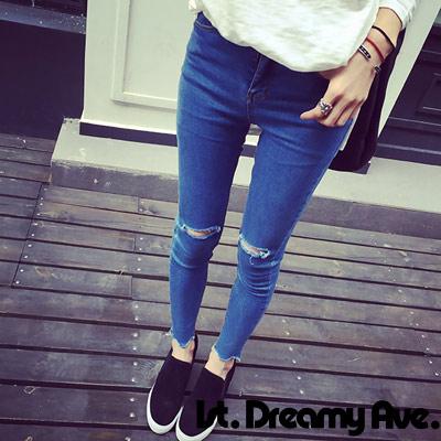 破洞九分窄管小腳鉛筆牛仔褲-藍色-1st-Dreamy-Ave