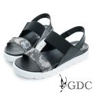 GDC-韓風簡約彈性楔型厚底一字涼鞋-黑色