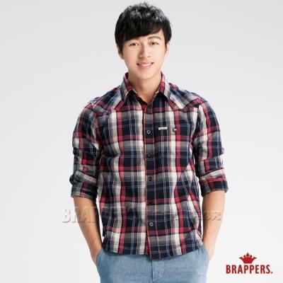 BRAPPERS 男款 男用W型條紋襯衫-深藍