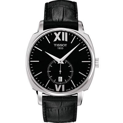 TISSOT T-Lord 都會紳士小秒針機械腕錶-黑/40mm