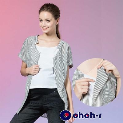 ohoh-mini 孕婦裝 兩件式細條紋襯衫孕哺套裝-3色