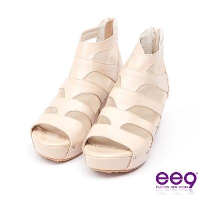 ee9璀璨迷人~金屬鉚釘透膚網紗拼接露趾楔型跟包鞋*裸色