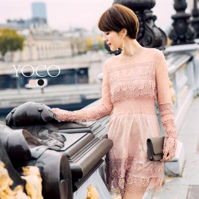 東京著衣-yoco 安琪聯名香榭美人蕾絲拼接小洋裝-XS.S.M.L(共二色)