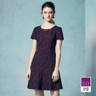 ILEY伊蕾 輕奢花卉蕾絲短袖洋裝體驗價商品(藍)