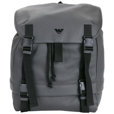 EMPORIO ARMANI 荔紋牛皮雙釦束口後背包(灰色)