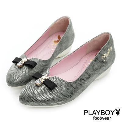 PLAYBOY 優雅氣息 古典造型尖頭娃娃鞋-鎳(女)