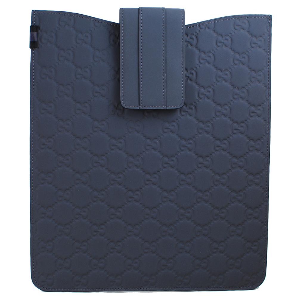 GUCCI 經典雙G LOGO皮革壓紋保護套.灰