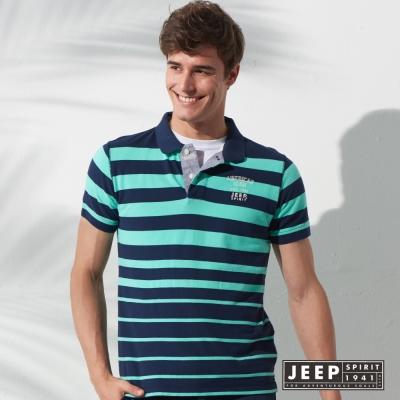 JEEP 簡單俐落美式條紋短袖POLO衫 綠色 (合身版)