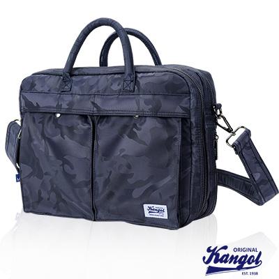 KANGOL 英式時尚輕時尚休閒大空間公事包防潑水尼龍 斜側包-迷彩藍