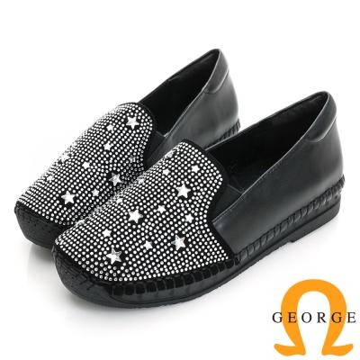 GEORGE 喬治-舒適系列 羊皮水鑽休閒鞋(女)-黑色