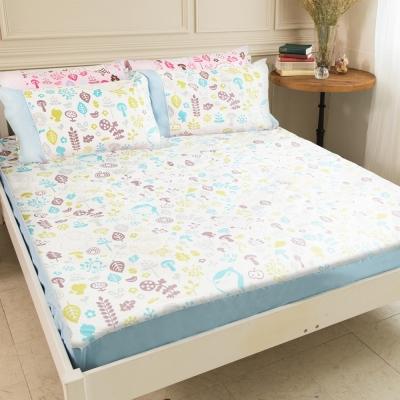奶油獅-好朋友系列-台灣製造-100%精梳純棉床包三件組(白森林)-雙人5尺