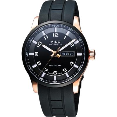 MIDO Multifort 先鋒系列極速黑金腕錶-黑/42mm