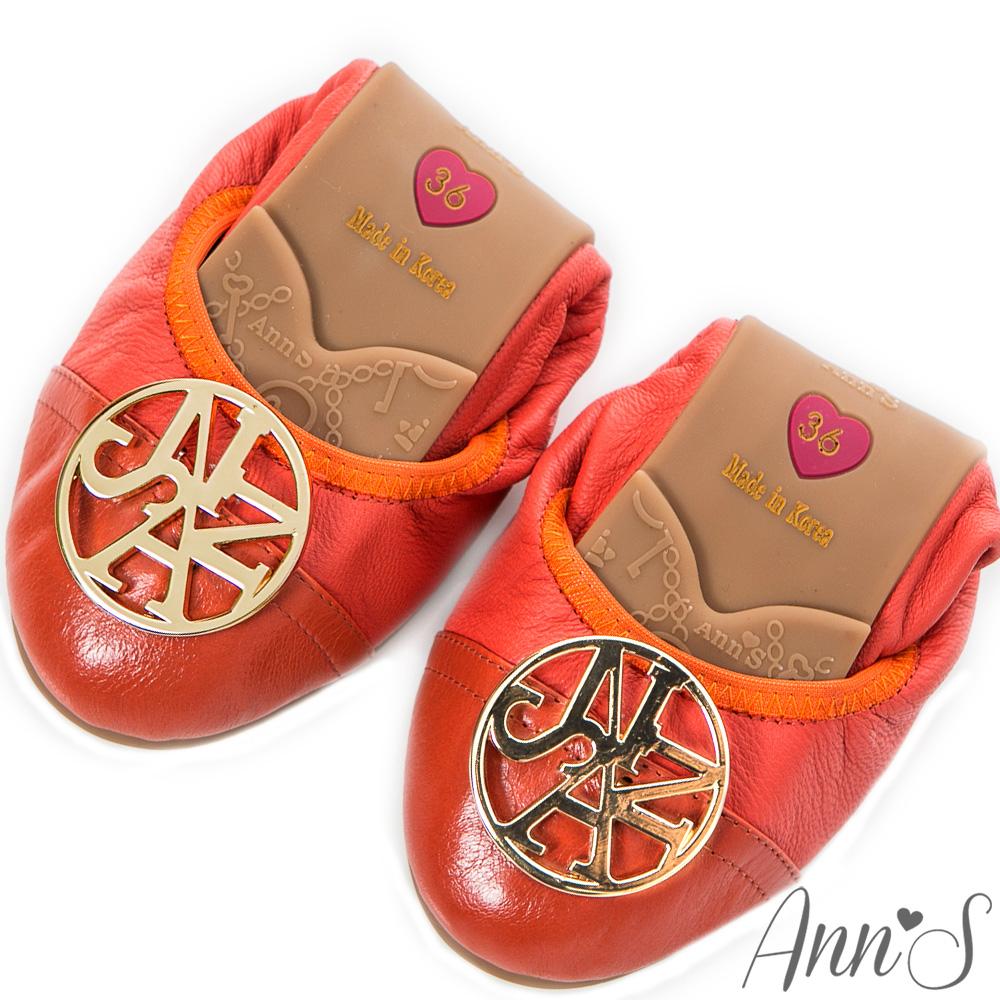 Ann'S清新氣質-全真皮拼接綿羊皮金牌超軟摺疊鞋 桔