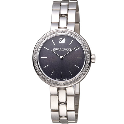 SWAROVSKI 施華洛世奇 Daytim 璀璨耀眼時尚腕錶-黑/34mm
