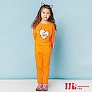 JJLKIDS 蕾絲愛心純棉休閒套裝(橙色)