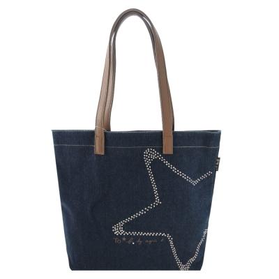agnes b. 鑲鑽星星牛仔單寧手提包(藍)