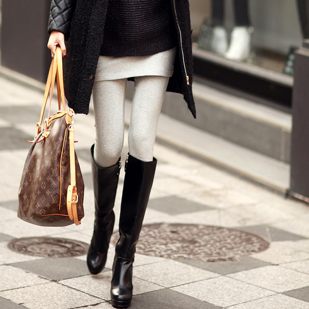 保暖棉質單色拼接內搭褲 (共三色)-N.C21