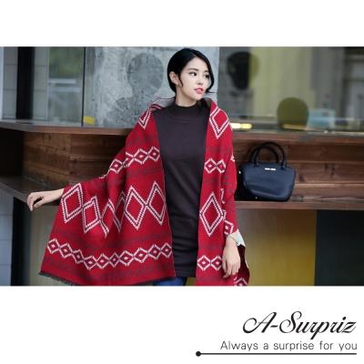 A-Surpriz 菱格花雙面加長仿羊絨厚圍巾(紅色系)