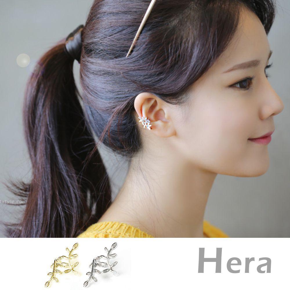 Hera赫拉 韓國熱銷線條樹葉耳環/耳骨夾金銀二顆入