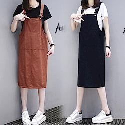 中大尺碼素色梯形大口袋背開叉雙口袋吊帶裙XL~4L-Ballet Dolly