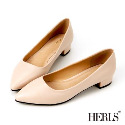 HERLS-優雅內真皮素面跟鞋-裸色