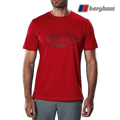 【Berghaus貝豪斯】男款山峰印花圓領T恤S04M14-紅