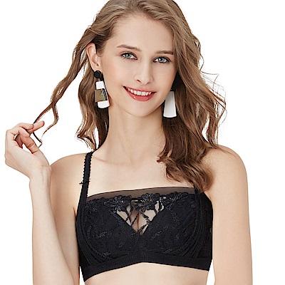 思薇爾 都繪感系列B-D罩1/2罩抹胸蕾絲刺繡包覆內衣(黑色)