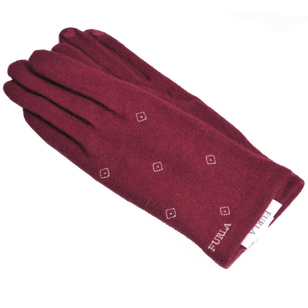 FURLA 品牌字母菱格刺繡LOGO保暖造型可觸控手套(酒紅色)