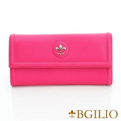 義大利BGilio-NAPPA軟牛皮氣質立體車縫釦式長夾-桃紅色 1697.324-14