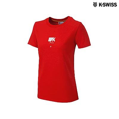 K-Swiss Short Sleeve T-Shirts印花短袖T恤-女-紅