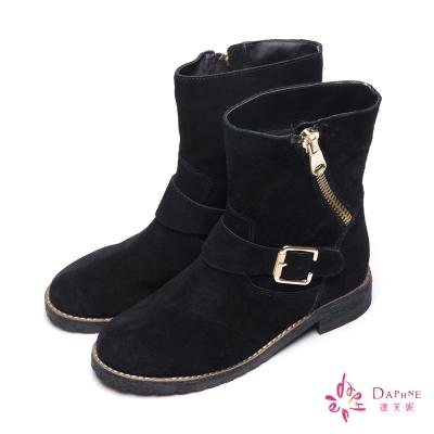 達芙妮DAPHNE-短靴-斜拉鍊裝飾麂皮平底靴-黑