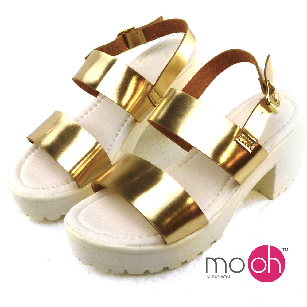 mo.oh-粗跟厚底搭露趾涼鞋-金色