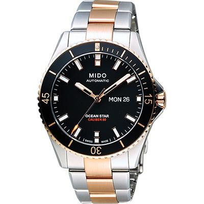 MIDO 美度 Ocean Star Caliber 80 200m潛水機械腕錶-黑x雙色 M0264302205100