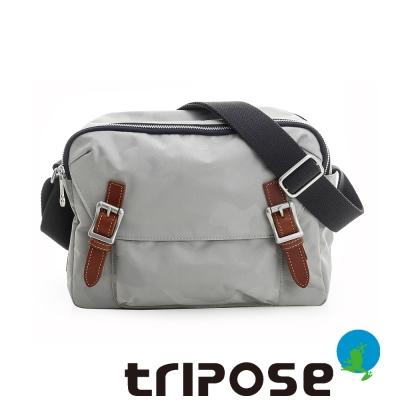 tripose 迷彩系列雙層拉鍊肩背斜背包 淺灰