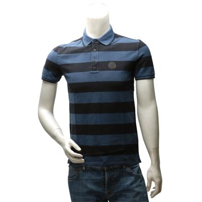ARMANI JEANS 經典純棉粗條紋立領短袖POLO衫(藍X黑)