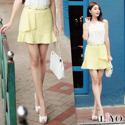 LIYO理優韓系裙子斜襬層次設計魚尾短裙(黃)