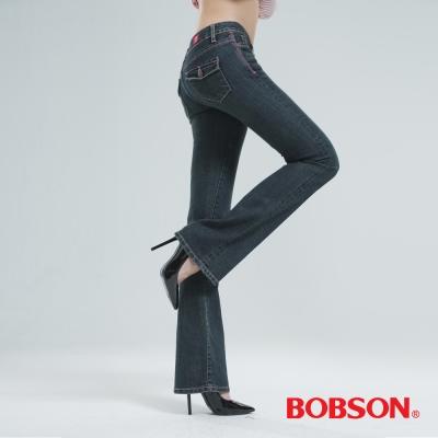 BOBSON 貓鬚刷白伸縮小喇叭褲(復古藍)