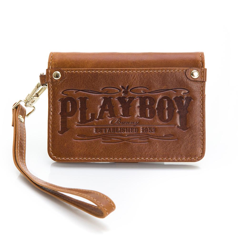 PLAYBOY- True 真我系列 手挽票卡夾-曠野棕