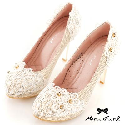 Mori girl洛可可婚禮-蕾絲綴花鑽高跟鞋 金
