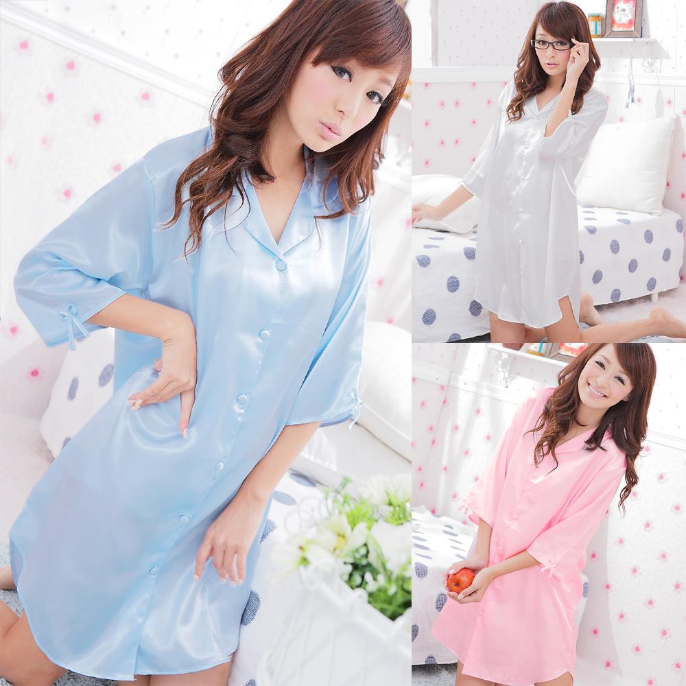 【Kilei綺麗】超值3件入‧誘惑心機襯衫式絲緞連身睡衣
