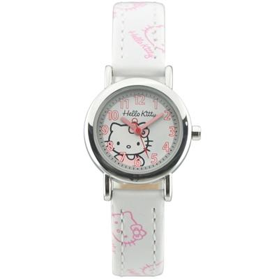 HELLO KITTY 凱蒂貓可愛糖果色流行手錶-白/25mm