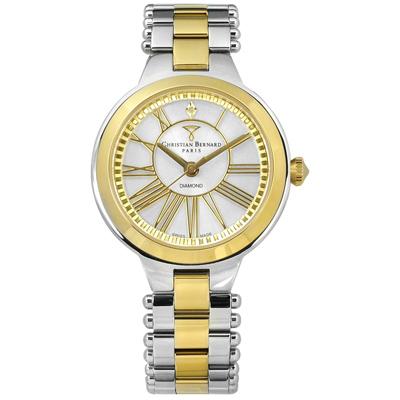 CHRISTIAN BERNARD 伯納錶 真鑽點綴瑞士製造不鏽鋼手錶-鍍金/34mm